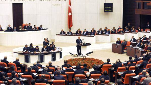 ANKARA, TURKEY - DECEMBER 10:  In this handout image provided by the Palestinian Press Office (PPO), Palestinian President Mahmoud Abbas gives a speech to the Turkish Parliament December 10, 2012 in Ankara, Turkey. Abbas is on a three-day official visit during which he will meet with his Turkish counterpart President Abdullah Gul and Prime Minister Recep Erdogan and a number of Turkish senior officials. (Photo by Thaer Ghanaim/PPO via Getty Images)